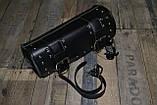 Мотосумки - батон. Чорний кожзам. 31 см (довжина) 13 см (діаметр), фото 6