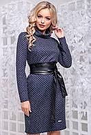 Теплу сукню з фактурного трикотажу комір хомут 42-50 розміру синє, фото 1