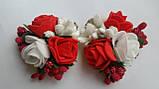Шпилька для волосся з білими й червоними трояндами, фото 2