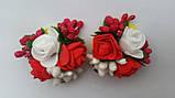 Шпилька для волосся з білими й червоними трояндами, фото 3