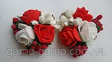 Заколка для волос с белыми и красными розами
