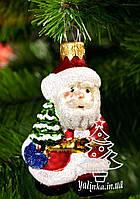 Стеклянная елочная игрушка Дед Мороз с елочкой 1840