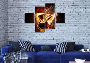 Картина модульная Огненная девушка на ПВХ ткани, 70x110 см, (25x25-2/65х25-2), фото 3