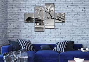 Картина модульная Дерево Сакуры на ПВХ ткани, 70x110 см, (25x25-2/65х25-2), фото 3