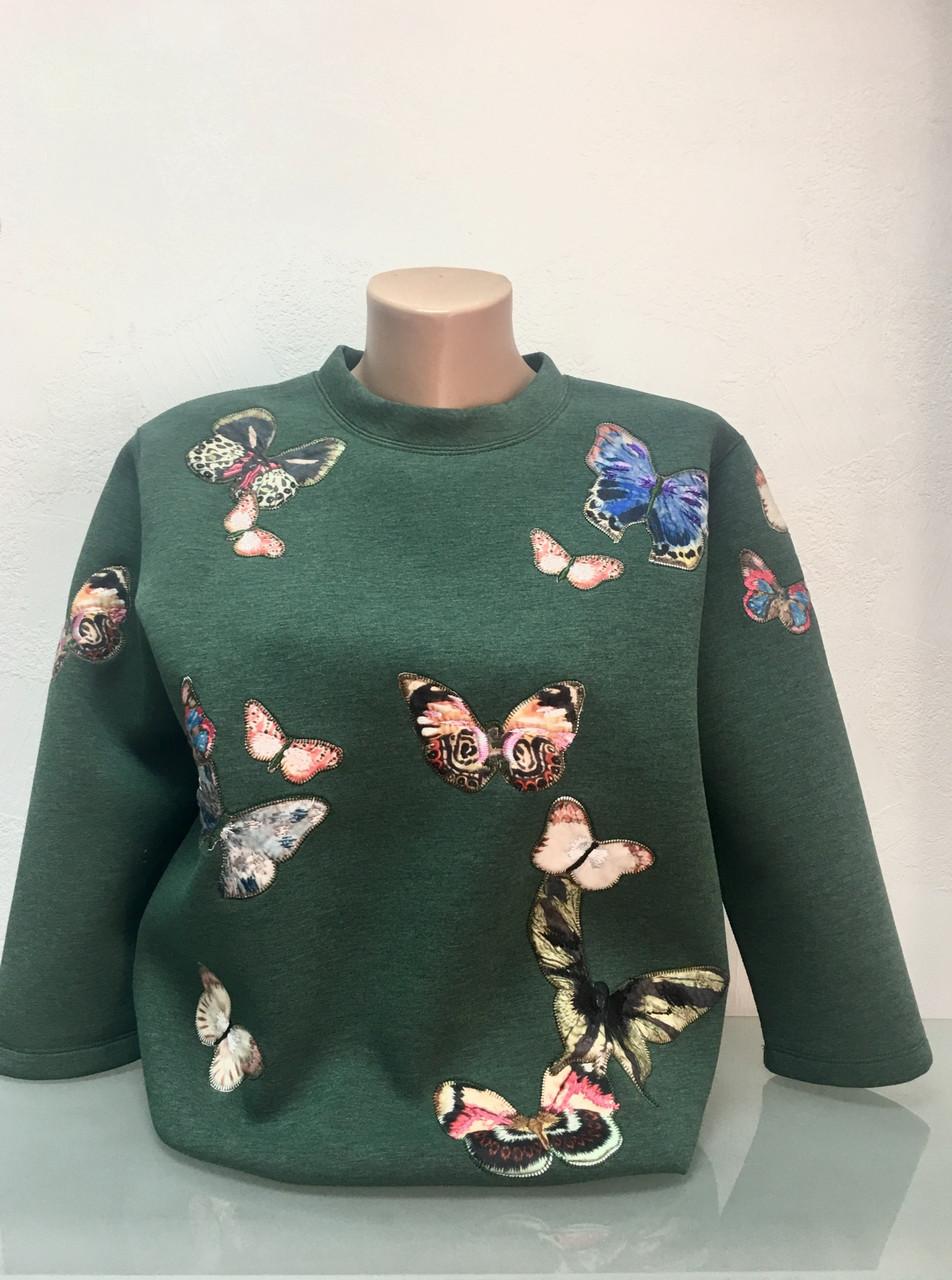 Свитшот Burberry Brit женский зеленый апликация бабочки