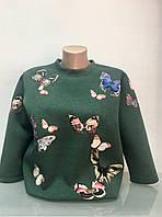 Свитшот Burberry Brit женский зеленый апликация бабочки, фото 1