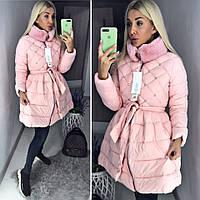 Женский модный пуховик пальто с пышной юбкой ткань плотная плащевка розовый