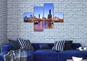Модульна картина Манхеттенський міст на ПВХ тканини, 70x110 см, (25x25-2/65х25-2), фото 3