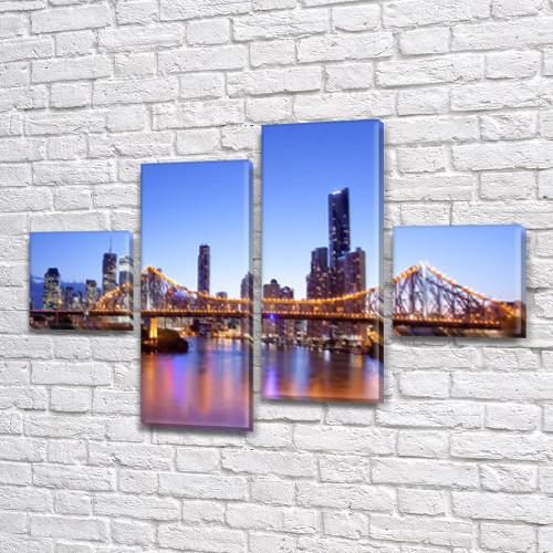 Модульна картина Манхеттенський міст на ПВХ тканини, 70x110 см, (25x25-2/65х25-2)