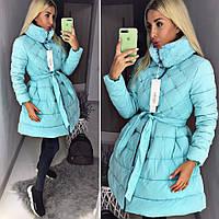 Женский модный пуховик пальто с пышной юбкой ткань плотная плащевка голубой, фото 1