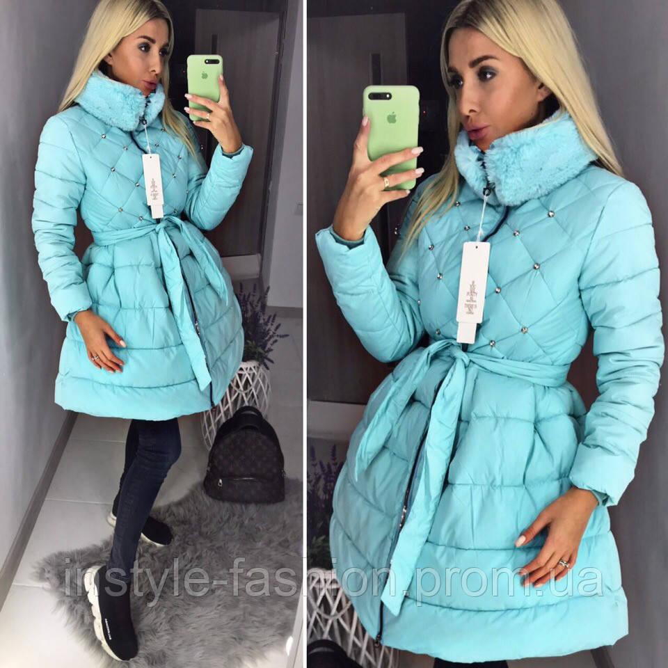 Женский модный пуховик пальто с пышной юбкой ткань плотная плащевка голубой