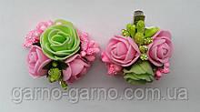 Шпилька для волосся з рожевими трояндами зелений