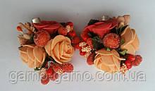 Шпилька для волосся з рожевими трояндами помаранчевий