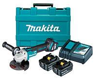 Аккумуляторная бесщеточная болгарка Makita DGA511RTE + 2 акб 18 V 5 Ah + з/у + кейс
