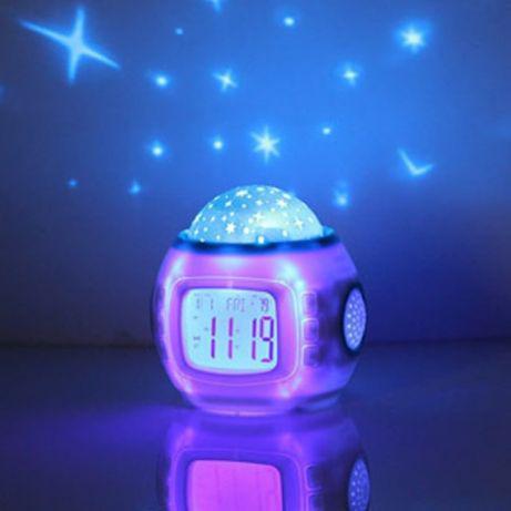 Электронные часы-проектор звезного неба, ночник 1038 светильник, фото 1