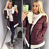 Женский модный пуховик пальто с мехом ткань плотная плащевка бордовый