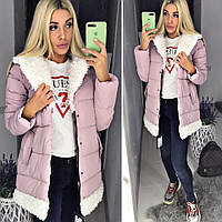 Женский модный пуховик пальто с мехом ткань плотная плащевка розовый