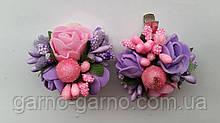 Заколка для волос с фиолетовыми розами