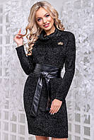 Теплу сукню з ангори травичка комір хомут 44-50 розміру чорне, фото 1