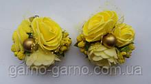 Заколка для волос с желтыми розами и ягодками