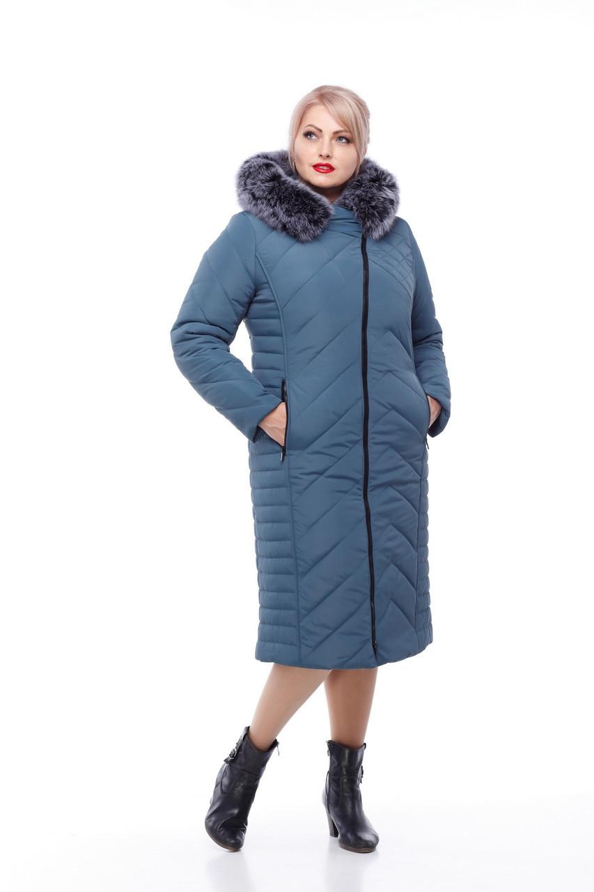 Длинное стеганное пальто с песцом большие размеры с капюшоном размеры 48-60