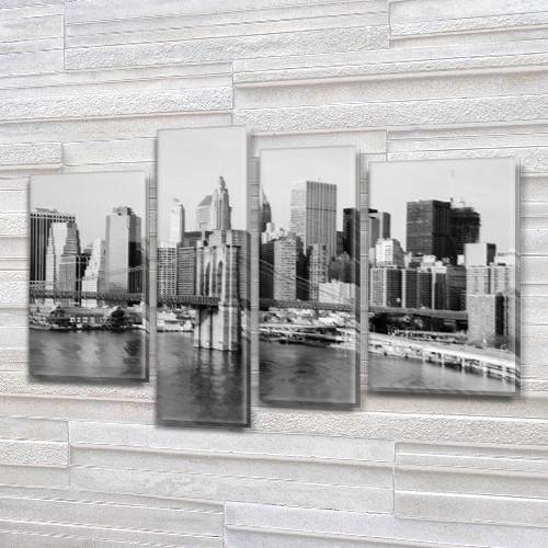 Модульная картина Скайлайн  на Холсте, 90x130 см, (65x35-2/90х25/75x25)