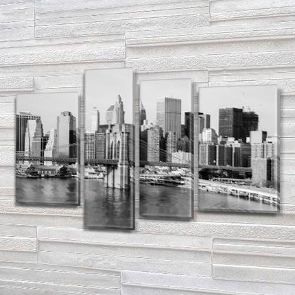 Модульная картина Скайлайн  на Холсте, 90x130 см, (65x35-2/90х25/75x25), фото 2