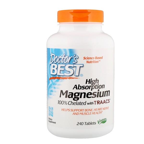 Doctor's Best, Магний с высокой усваиваемостью, 240 Tablets