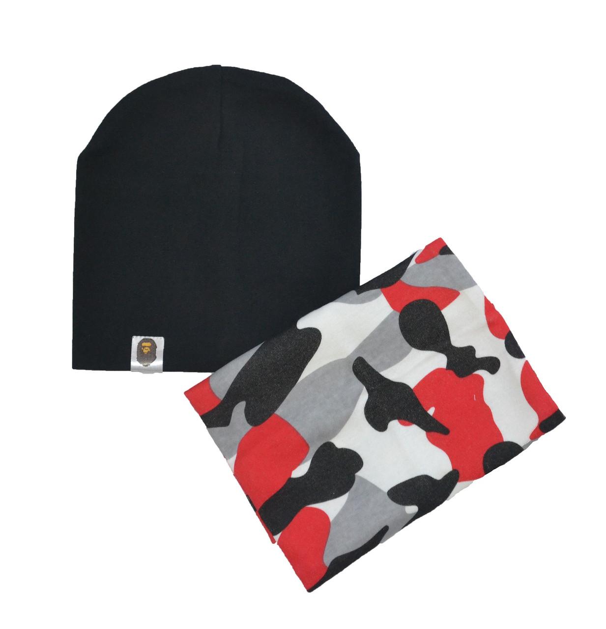 Набор шапка черная и снуд хаки для мальчика