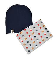 Набор шапка черная и снуд серый со звездами для мальчика