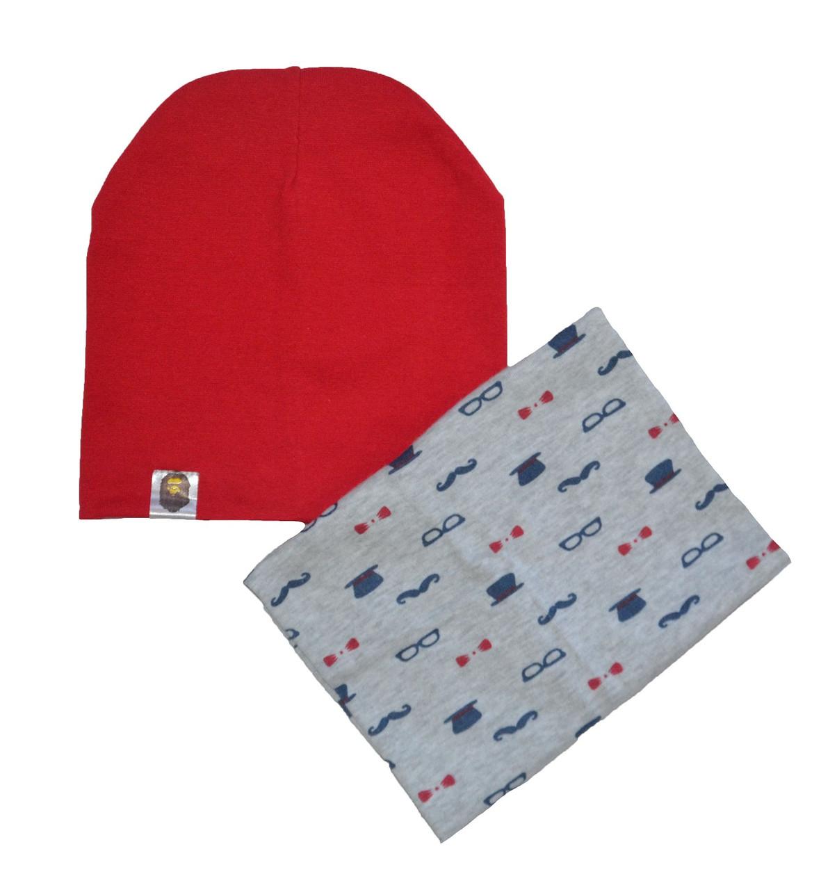 """Набор шапка красная и снуд серый """"Джентльмен"""" для мальчика"""