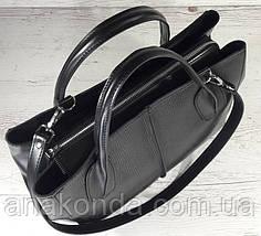 51-2 Натуральная кожа Сумка женская кожаная сумка черная Сумка из натуральной кожи черная Женская сумка черная, фото 3