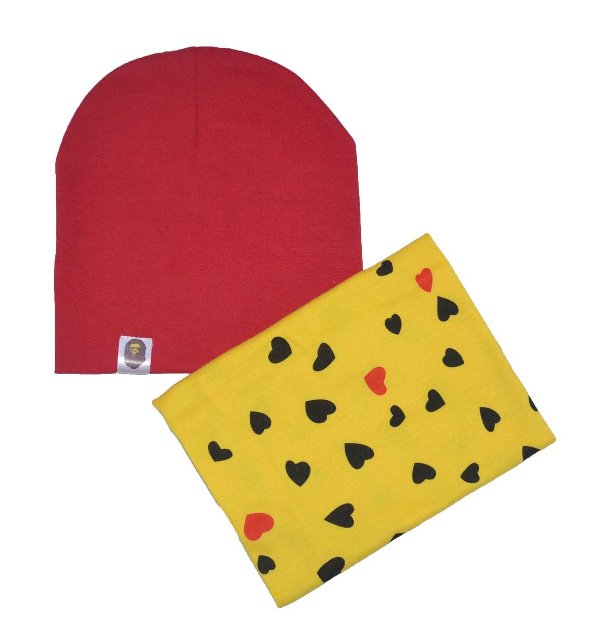 """Набор шапка красная и снуд желтый """"Сердца"""""""
