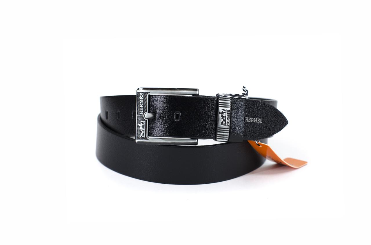 Hermes №8 кожаный черный ремень