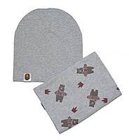 """Набор шапка серая и снуд серый """"Мишка"""""""