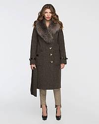 Пальто женское зимнее 5083-18, 44-56. Шикарный мех блюфрост