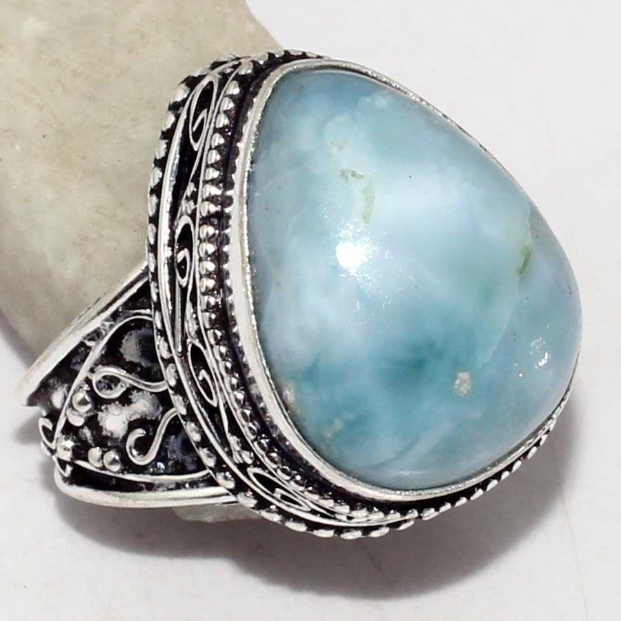 Ларимар кольцо с натуральным ларимаром в серебре 19.5-20 размер Доминикана, фото 1