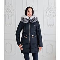 """Женская зимняя куртка-парка с натуральной опушкой """"Мэджик"""" черный"""