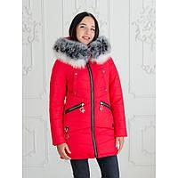 """Женская зимняя куртка-парка с натуральной опушкой """"Мэджик"""" черный красный, 44"""
