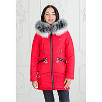 """Женская зимняя куртка-парка с натуральной опушкой """"Мэджик"""" черный красный, 46"""