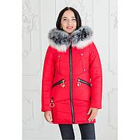 """Женская зимняя куртка-парка с натуральной опушкой """"Мэджик"""" черный красный, 48"""
