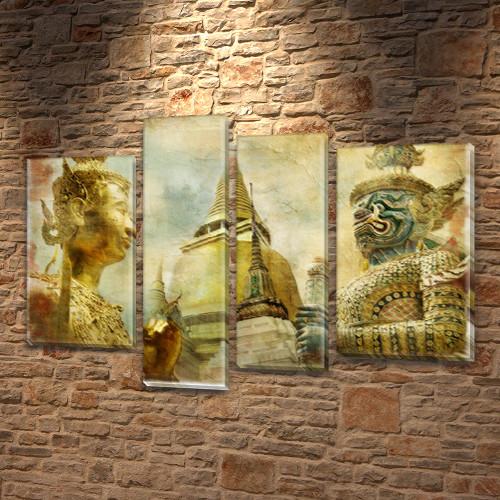 Модульная картина Восточные боги  на Холсте, 90x130 см, (65x35-2/90х25/75x25)