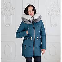 """Женская зимняя куртка-парка с натуральной опушкой """"Мэджик"""" синий оливковый, 44"""