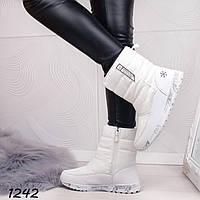 Женские зимние сапоги дутики белые, фото 1