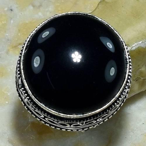 Черный оникс кольцо с черным ониксом в серебре 17.5 размер Индия