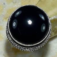Черный оникс кольцо с черным ониксом в серебре 17.5 размер Индия, фото 1