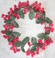 Венок декоративный 30 см, Красные ягоды