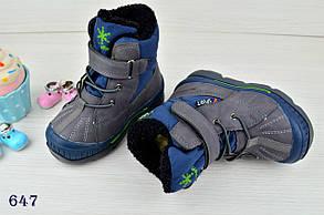 Термо Ботинки детские зимние с мехом  из эко-кожи на мальчика серые, фото 2