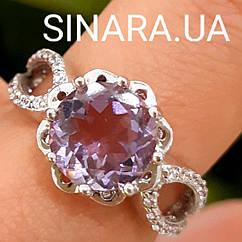 Серебряное кольцо с натуральным аметистом и фианитами