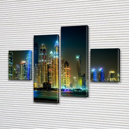 Модульная  картина Город ночью на ПВХ ткани, 85x110 см, (35x25-2/75х25-2)